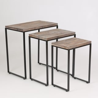 Brown Wood Surface Metal Frame Nesting Tables (Set of 3)