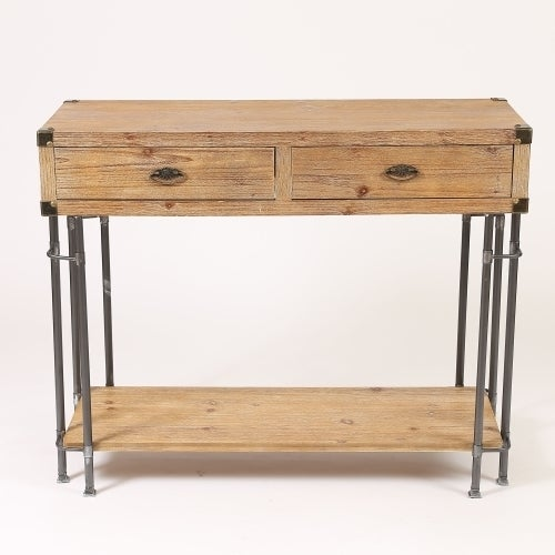 Shop Rustic Natural Wood And Metal 2 Drawer Console Table On Sale