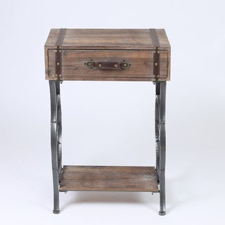 Distressed Brown Wooden Single-drawer Accent Table With Black Metal Legs