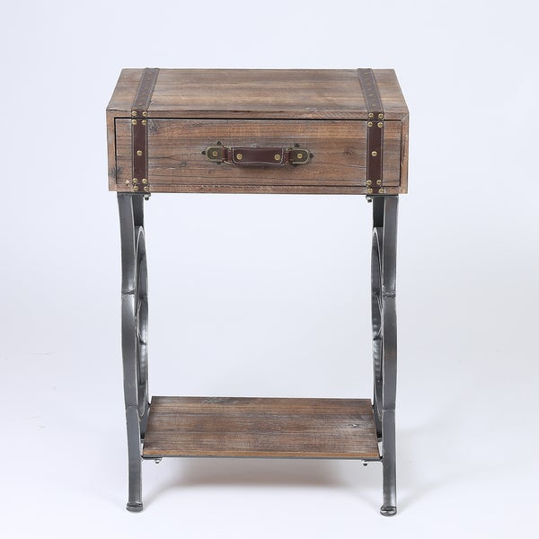 Rustic Single Drawer Accent Table