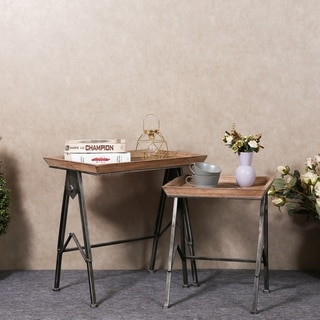 Brown Wooden Accent Tables With Black Metal Legs (Set of 2)