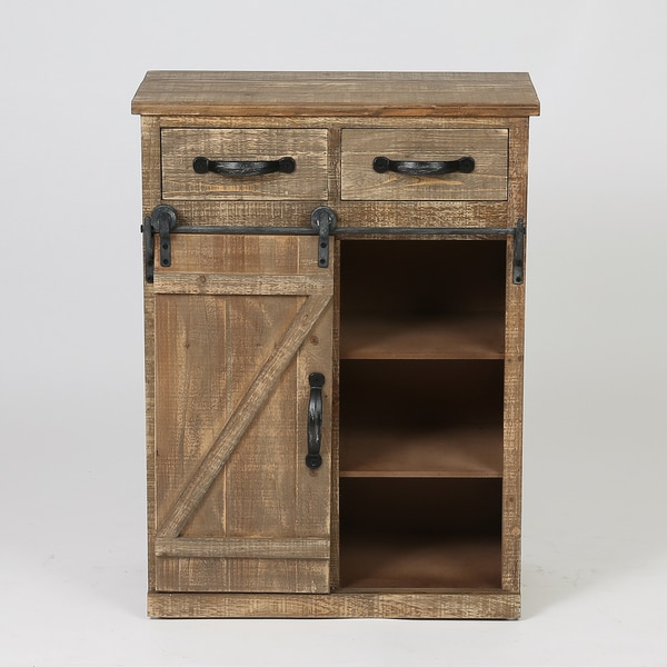 Brown Wood Rustic Sliding Barn Door Console Cabinet
