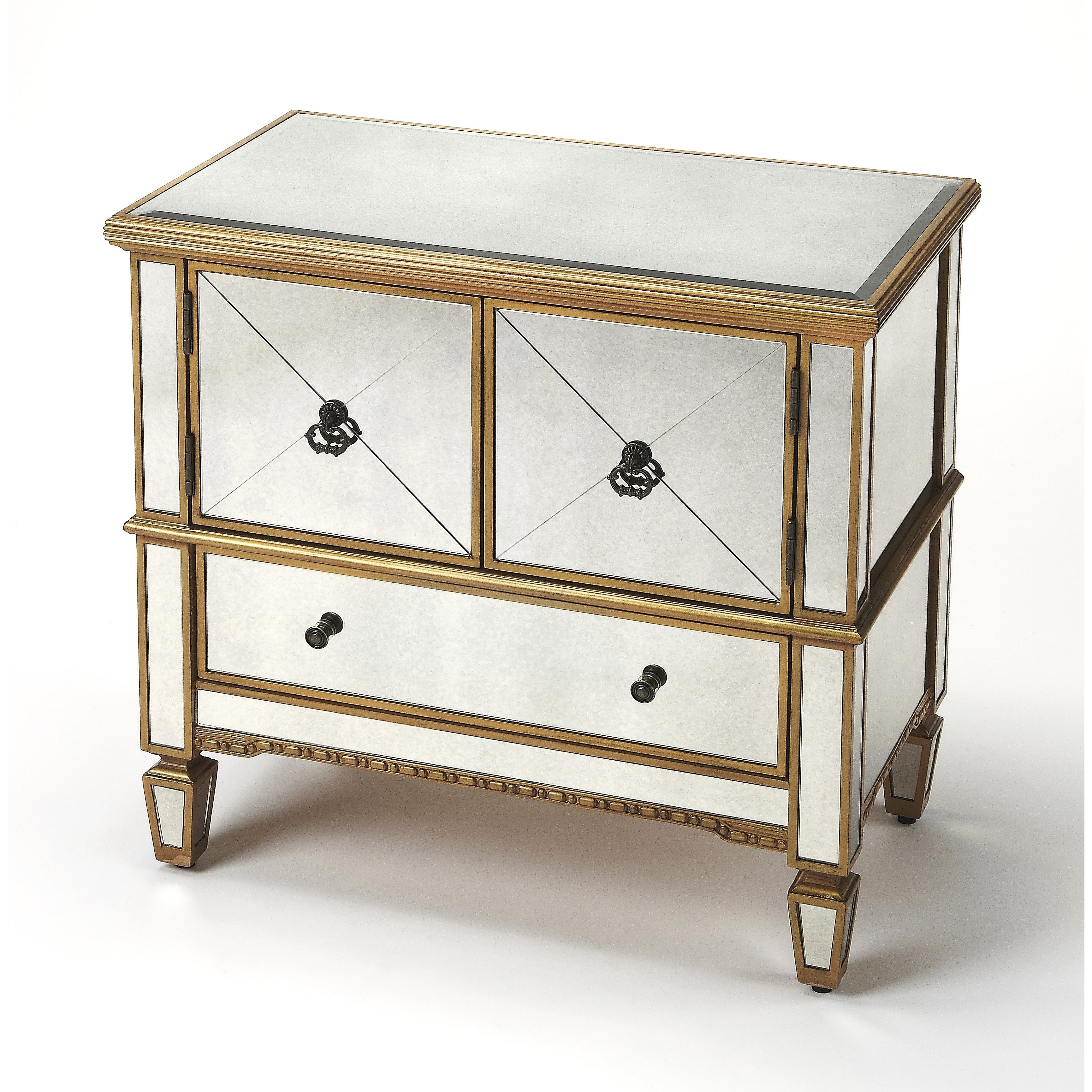 Goldtone Butler Celeste Mirror and Gold Console Cabinet, ...