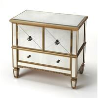 Butler Celeste Mirror & Gold Console Cabinet