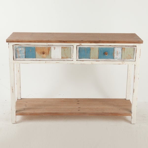 Charmant Rustic Multicolored Wood 2 Drawer Rustic Console Cabinet