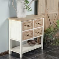 White Rustic Antique 4-drawer Console Cabinet
