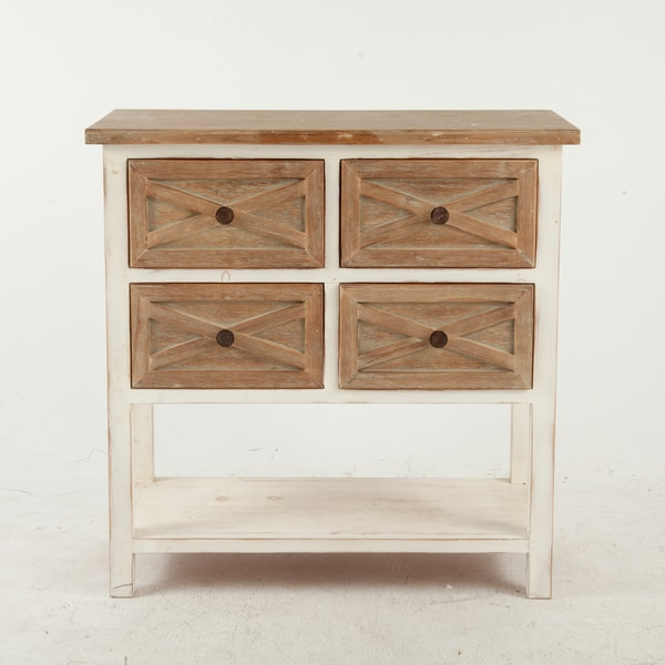 Attirant White Rustic Antique 4 Drawer Console Cabinet
