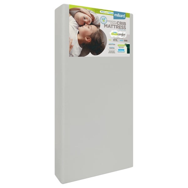 Milliard Crib Mattress, Dual Comfort System, Firm Side For Baby and Soft Side For Toddler - 100 Percent Cotton Cover. Opens flyout.