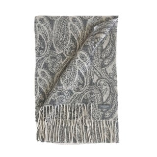 James Cavolini Italy Men's Cashmere Wool Paisley White Scarf