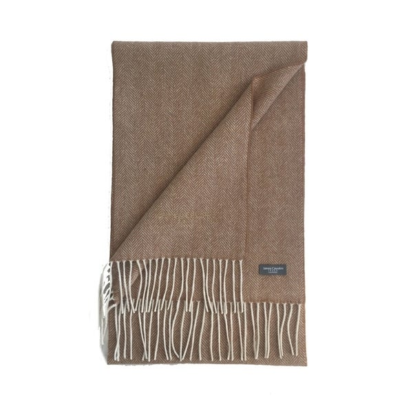323fd19e9 Shop James Cavolini Italy Men's Cashmere Wool Chevron Camel Scarf ...