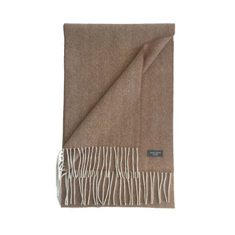 James Cavolini Italy Men's Cashmere Wool Chevron Camel Scarf