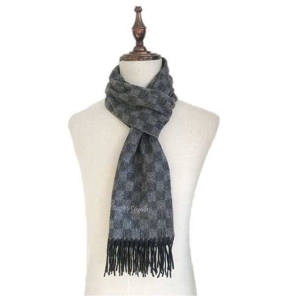 James Cavolini Italy Men/'s Cashmere Wool Checkered Grey Scarf
