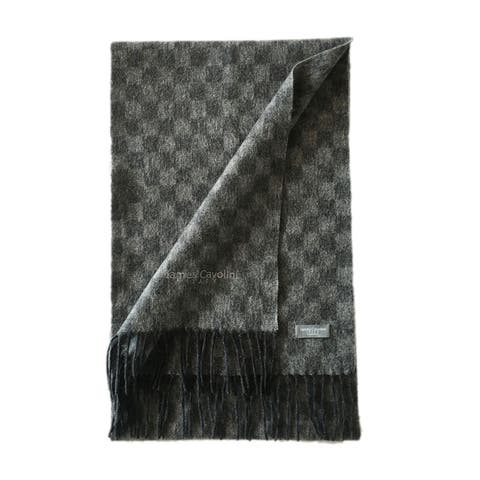 James Cavolini Italy Men's Cashmere Wool Checkered Grey Scarf