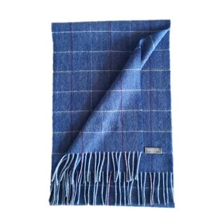 James Cavolini Italy Men's Cashmere Wool Plaid Blue Scarf