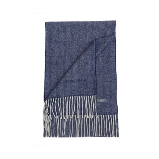 James Cavolini Italy Men's Cashmere Wool Chevron Blue Scarf