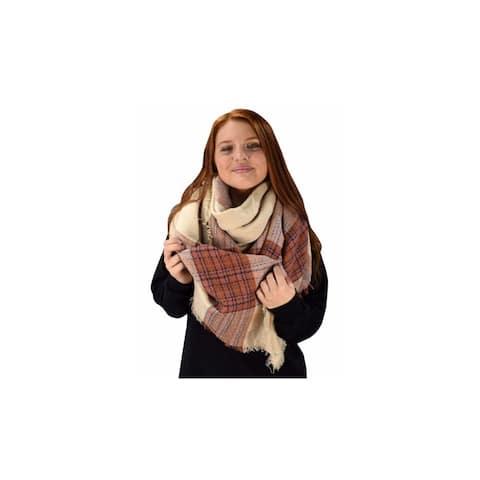 Peach Couture Plaid Striped Blanket Scarves - Medium