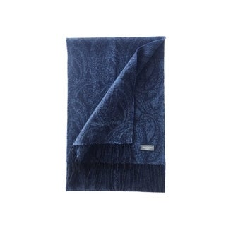 James Cavolini Italy Men's Cashmere Wool Paisley Blue Scarf