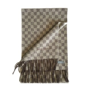 James Cavolini Italy Men's Cashmere Wool Checkered Brown Scarf