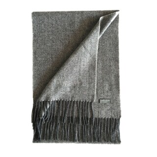 James Cavolini Italy Men's Cashmere Wool Chevron Heather Grey Scarf