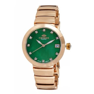 Oniss Womens Swiss MOP & Crystal Quartz Watch-Rose tone/Green dial
