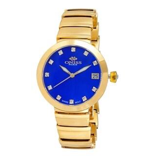Oniss Womens Swiss MOP & Crystal Quartz Watch-Gold tone/Blue dial