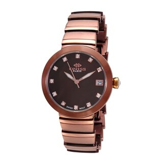Oniss Womens Swiss MOP & Crystal Quartz Watch-Brown tone/Brown dial