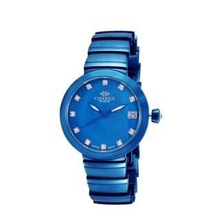 Oniss Womens Swiss MOP & Crystal Quartz Watch-Blue tone/Blue dial