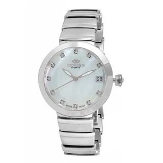 Oniss Womens Swiss MOP & Crystal Quartz Watch-Silver tone/White dial