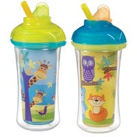 Munchkin Click Lock Decoreated Insulated Straw Cup 2 Pack - 9 Ounce - Giraffes & Forest
