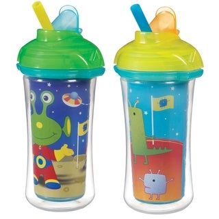 Munchkin Click Lock Decoreated Insulated Straw Cup 2 Pack - 9 Ounce - Ailens & Dinos