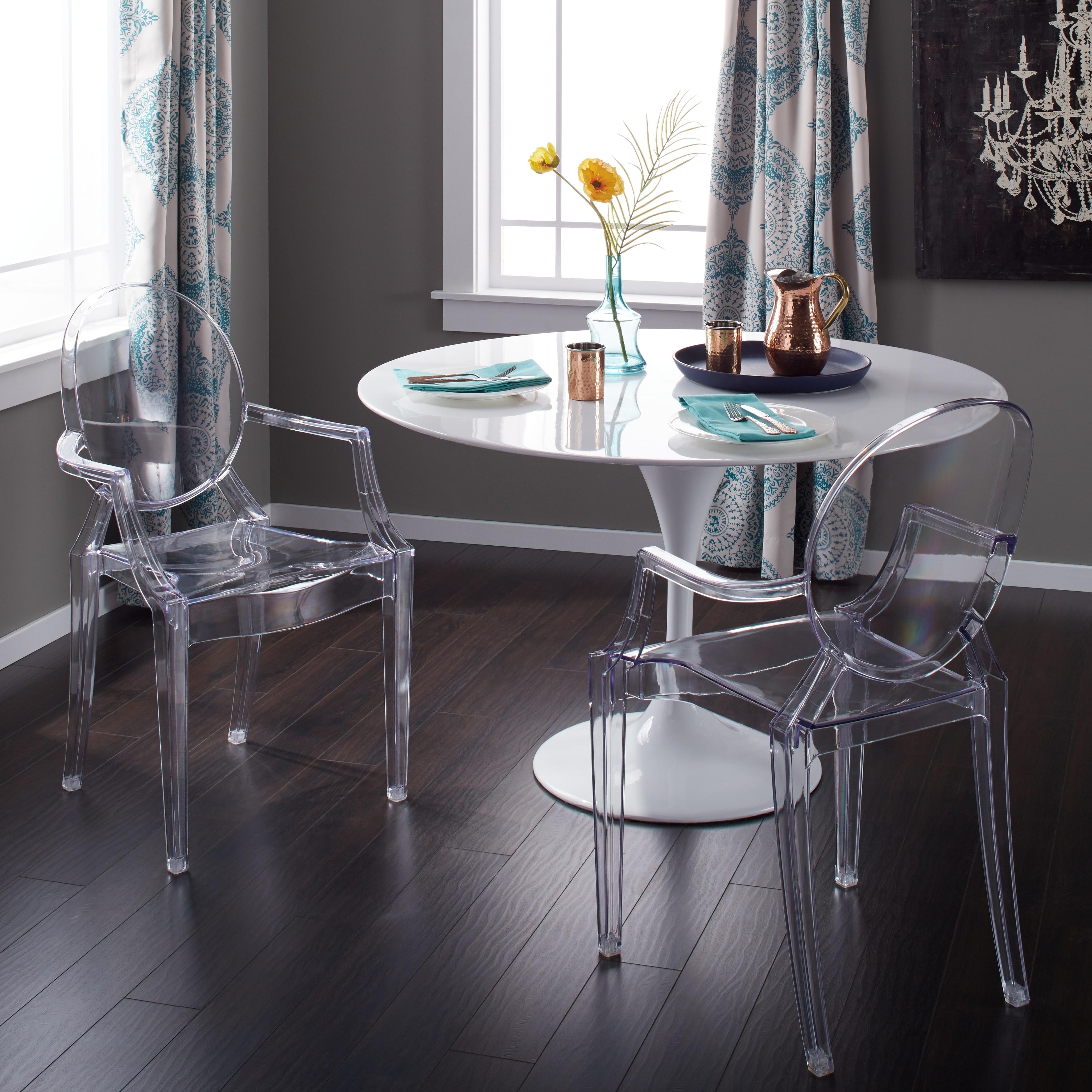Corvus Irene Modern Clear Acrylic Dining Chair with Armre...