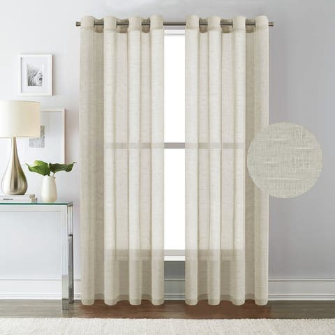 H.Versailtex Linen Nickel Grommet Window Sheer Curtains 2-Pack