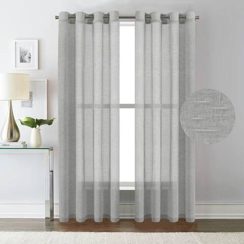H.Versailtex Sheer Linen Curtain Panels (Set of 2)