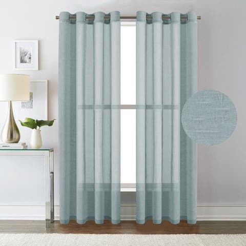 HVersailtex Linen Nickel Grommet Window Sheer Curtains 2 Pack