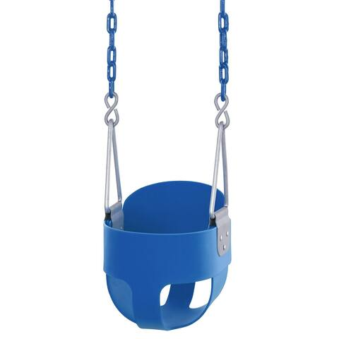 Swingan - High Back, Full Bucket Toddler & Baby Swing - Vinyl Coated Chain - Fully Assembled - Blue