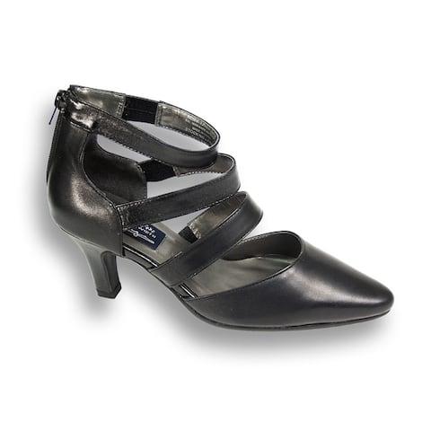 PEERAGE Lola Women Extra Wide Width Strappy 3 inch Heel Leather Dress Pump