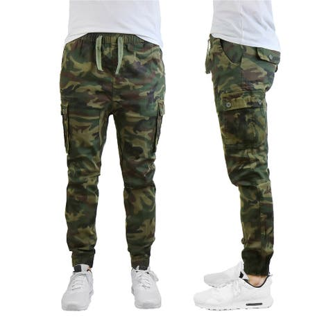 Galaxy by Harvic Men's Cotton Blend Slim Fit Twill Cargo Joggers