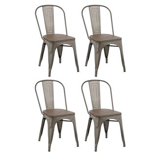 Link to Industrial Stackable Steel Antique Rustic Cafe Dining Chair Set of 4 Similar Items in Kitchen & Dining Room Chairs