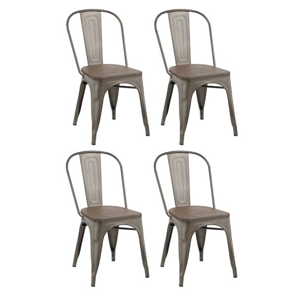 Industrial Stackable Steel Antique Rustic Cafe Dining Chair Set of 4