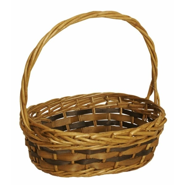 Wald Imports Brown Willow and Woodchip Decorative Storage Basket