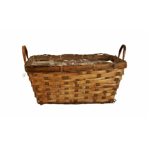 "Wald Imports Brown Rattan Double 6"" Decorative Storage Basket Planter"