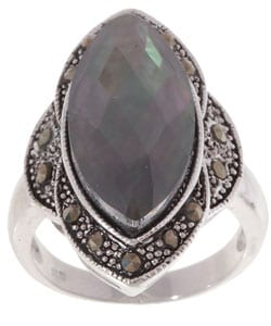 Glitzy Rocks Sterling Silver Marcasite Abalone Ring