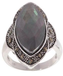 Glitzy Rocks Sterling Silver Marcasite Abalone Ring