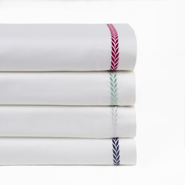 Elegant Leaf Embroidered 300 TC 100% Cotton 4 Piece Sheet Set