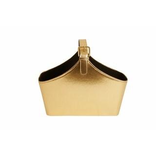 Wald Imports Gold Faux Leather Decorative Storage Organizer Basket