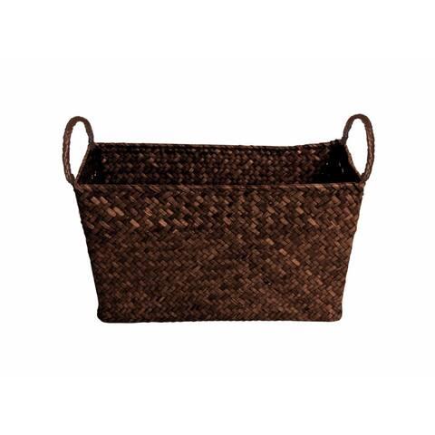 Wald Imports Brown Seagrass-reed Rectangular Decorative Storage Basket