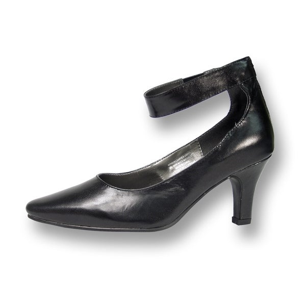 Peerage FIC Lola Women Wide Width Leather Dress Pump Black