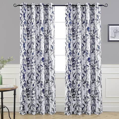 DriftAway Leah Floral Blossom Ink Painting Room Darkening Grommet Window Curtain Panel Pair