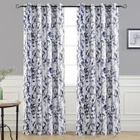 DriftAway Leah Floral Room Darkening Grommet Window Curtain Panel Pair
