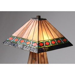 Tiffany-style Mission-style Lighted Base Table Lamp - Thumbnail 1
